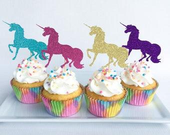 Unicorn cupcake topper | Unicorn party | Glitter cupcake topper | Gold cupcake topper | Unicorn party decor | Unicorn birthday | Unicorn