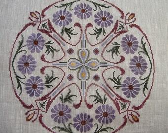 Flowers & Swirls Cross Stitch Pattern (paper copy)