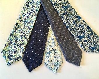Blue, indigo, necktie, men's tie, polka dot, skinny tie, cotton, wedding, groomsmen, chambray tie, custom tie, mens tie, self tie, chambray