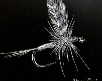 Fly Fishing Wall Art: Adams Fly, Black and White Art, Fathers Day Gifts, Fly Fishing Gifts, Colorado Fly Fishing, Framed Art
