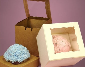 TAX SEASON Stock up 25 Pc Pretty Window Front Cupcake Boxes with Inserts- 4 x 4 x 4