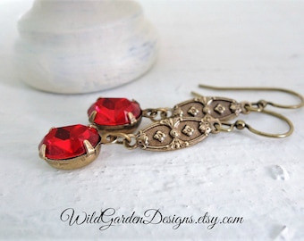 Red Downton Abbey Style Earrings January Birthstone Valentine Gift For Her Vintage Inspired Red Crystal Drops Romantic Edwardian Style