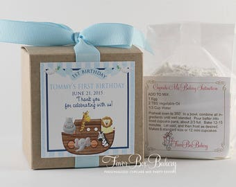 NOAH'S ARK ... One Dozen (12) Personalized Cupcake Mix Birthday Party Favors