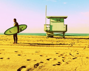 Sunrise Surfer Santa Monica California Lifeguard Station Beach Pacific Ocean Sand Surf Morning Fine Art Photograph Print Photography