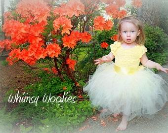 "Crochet Tutu Dress PATTERN: Flower Girl Dress, Crochet Flower ""Lisa-Lynn Dress"""