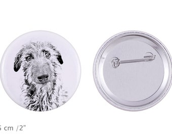 Buttons with a dog -Scottish Deerhound