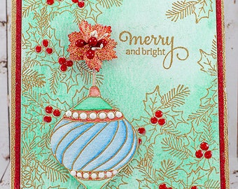 Merry and Bright Embossed Christmas Card