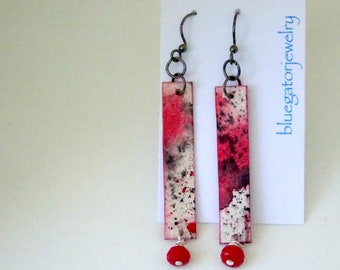 Red and Black Paper Earrings, Watercolor Earrings, Paper Anniversary, Mother's Day
