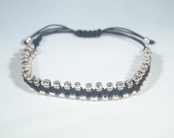 Macrame Beaded Bracelet - Black