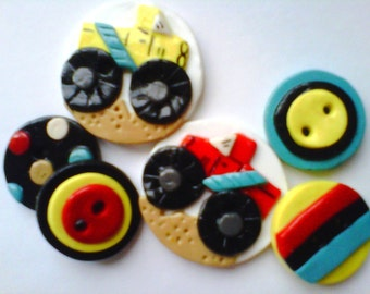 Button Monster Trucks polymer clay handmade button set ( 6 )