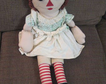 """Vintage Handmade Raggedy Anne Doll 27"""" tall well loved well cared for made in 1960's"""