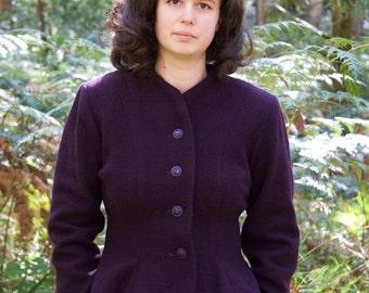 "WINTER SALE  1940s inspired collarless jacket, peplum skirt, fitted waist, handmade, ""Grace"""