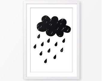 Kids cloud poster,black and white,scandinavian style,kids room decor,baby nursery decor,nursery wall art,children wall art,nursery poster