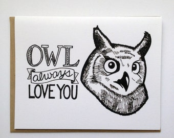 Hibou Always Love You - carte de voeux en lettres à la main