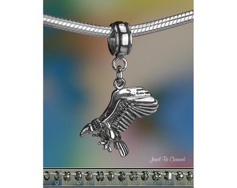 Sterling Silver Vulture Charm or European Style Charm Bracelet .925