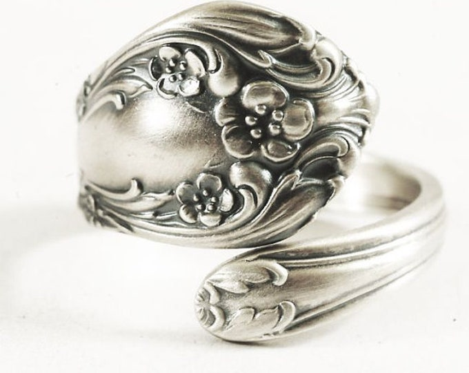 Sterling Petite Floral Ring, Vintage Alvin Chateau Rose, Sterling Silver Spoon Ring, Handmade Flatware Jeweler, Adjustable Ring Size (6368)