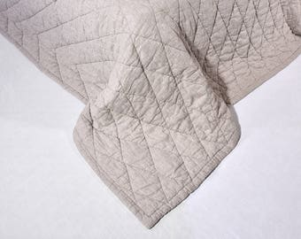 Linen winter quilt Color Natural Flax Quilted Linen StoneWashed Modern Quilt Organic Blanket  Neavier Linen Fabric King Size Blanket