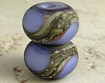 Purple Glass Lampwork Bead Pair with Organic Swirls and a Frosted Etched Matte Finish Small 11x7mm Amethyst Velvet
