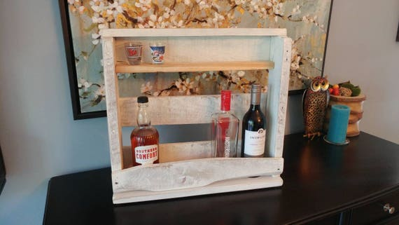 Liquor and wine holder made from shipping wood. Cedar shelf insert for shot glasses.