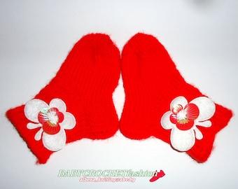 Knitted Baby Socks, Baby Christmas Socks, Knitting Socks, Red Baby Socks, Socks with butterflies, Newborn Baby Socks, Announcement Baby,