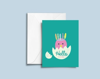 New Baby Card, Hello Little Chick, Greeting card for new baby, Card for New Baby, blank card