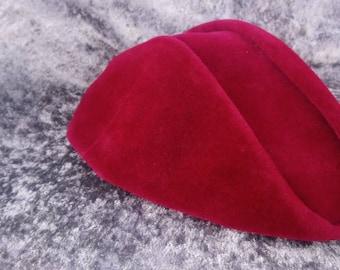 Vintage Hattie Carnegie Red Felt Bicorn Hat