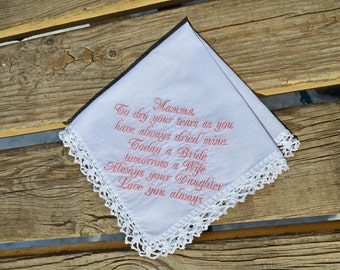 Mother of the bride gift ideas, personalized handkerchief.Wedding Hankerchief bridal gift for mom from daughter special inspirational quotes