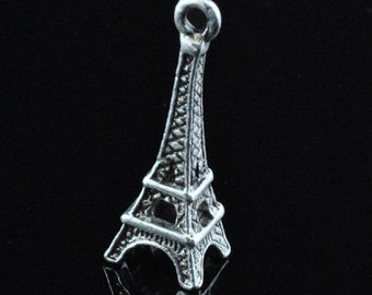 Paris France Eiffel Tower   charm silver  tone    jewelry supplies findings travel SEW200  quantity 4