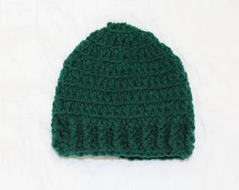 Handmade Crochet Green Baby Beanie - Baby Hat - Baby girl or Baby boy - Baby Shower Gift