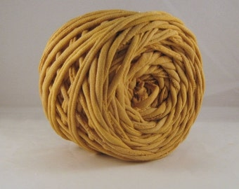 T Shirt Yarn, T-Shirt Yarn,  Hand Dyed, Antique Gold, Mustard Yellow, Gold - Tshirt yarn - 60 yards -Yellow Yarn - Cotton Yarn