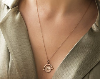 Gold   Initial Necklace, Bridesmaid Gift ,Bridesmaid Necklace,Personalized Necklaces,Heart And Initials Necklace