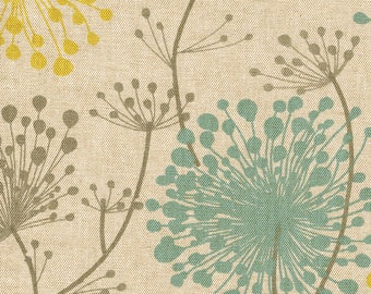 """90"""" Round Tablecloth, Irish Daisy Collins Floral- Citron Yellow, Gray, Teal"""