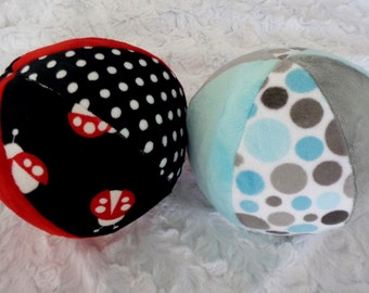 """Chimes Jingle - or - Bird Tweet - Ball -  Minky Ball for Baby or Puppy -  Take a listen to the chimes - 7"""" or 9"""""""