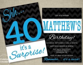 Blue 40th Surprise Party Invitation Gray Blue Black Masculine invite Mans Party Invitation Adult Printable Party Invite JPEG 340