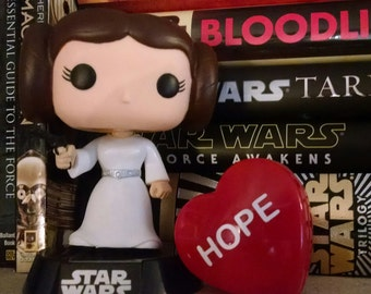 Mini plastic Star Wars Valentine's day heart box with custom vinyl lettering