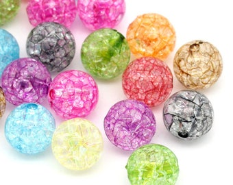 10 large round beads 12 mm acrylic Crackle effect