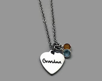 Grandma Charm Necklace, Grandma Necklace, Grandmother Necklace, Birthstone Necklace, Personalized Charm Necklace, Grandma Jewelry