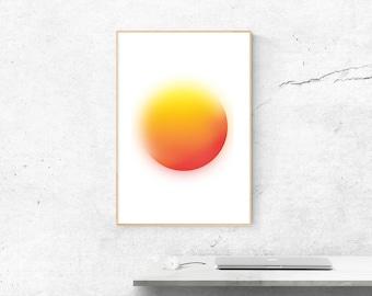 geometric art ,orange ,gradient circle,yellow, digital,wall decor art , pattern, Instant Download Print Art
