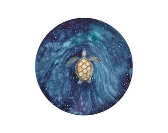 Sea Turtle Swimming Around the Galaxy, Art Print, Giclee, Art Decor, Fine Art, Surrealism
