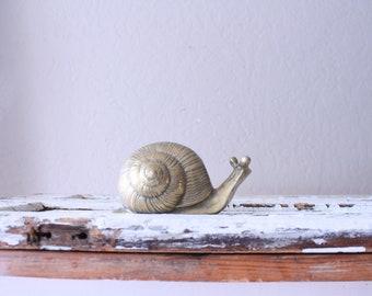 Vintage Large Brass Snail // Solid Brass
