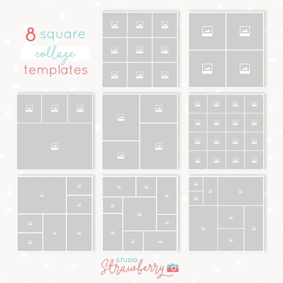 Collage Template Photoshop: Square collages bundle 8x /