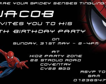Spiderman - Personalised Children's Party Invitations