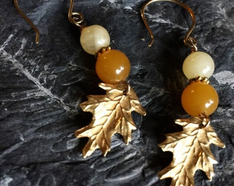 Gold Covered Shimmering Leaves Autumn Fall Pumpkin Orange Earrings