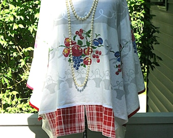 Upcycled cotton tunic for picnic or 4th of July Boho plus size recycled clothing Bohemian upcycled  loose fit eco boho top by Lily Whitepad