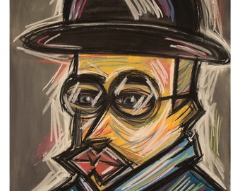 Large Artwork, Fine Art, Expressionism, Post Expressionism - Man With A Hat