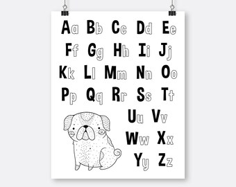 Pug Alphabet Art Printable Black White , Coloring Page  Wall Art Alphabet, Letters Printable, Toddler Room Wall Art, Black White Nursery