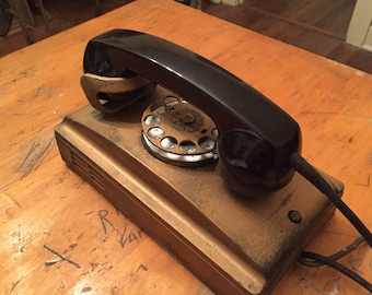 Vintage 1930's Art Deco Rotary Dile Wall Phone Telephone - Gold