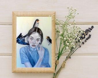 "Horror Macabre Surrealism Art Print Oil Painting ""Transient"" Two-toned eyed female portrait, birds, death, beautiful, sad, dark, ghost"