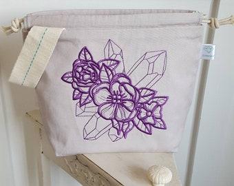 Purple Gemflower Drawstring Project Bag