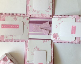 Box explosion, photo album, scrapbooking, christening, girl, godmother.